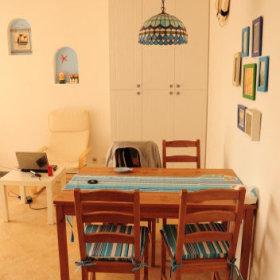 地中海餐桌木质餐桌灯具画框设计方案