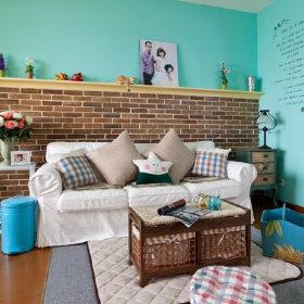 田园清新温馨沙发布沙发壁纸案例展示