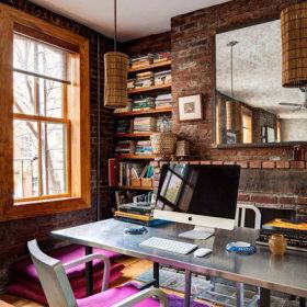清新自然复古法式乡村风格办公室桌子木质地板装修图