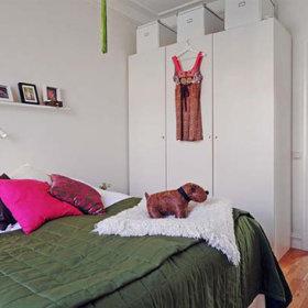 自然背景墙大床床架摆饰装修效果展示