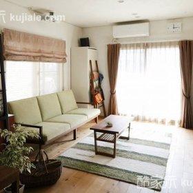 清新自然温馨浪漫客厅窗帘沙发茶几布艺窗帘效果图