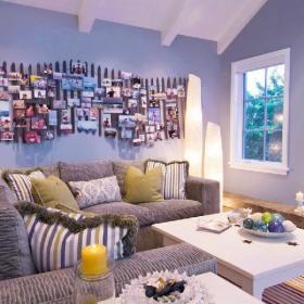 地中海地中海风格客厅背景墙沙发布艺沙发客厅沙发设计案例