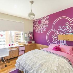 清新卧室背景墙装修案例