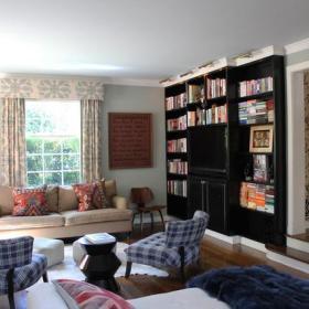客厅书柜沙发椅电视墙设计案例