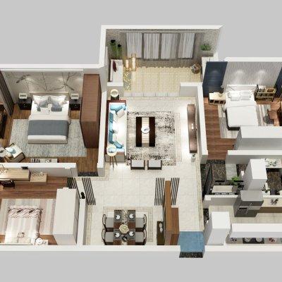 143方新中式三居俯视图