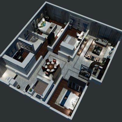 157方现代中式三居俯视图
