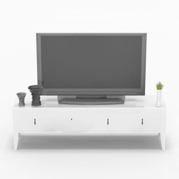 简欧白色实木烤漆储物卧室电视柜3d模型下载_简欧 ...