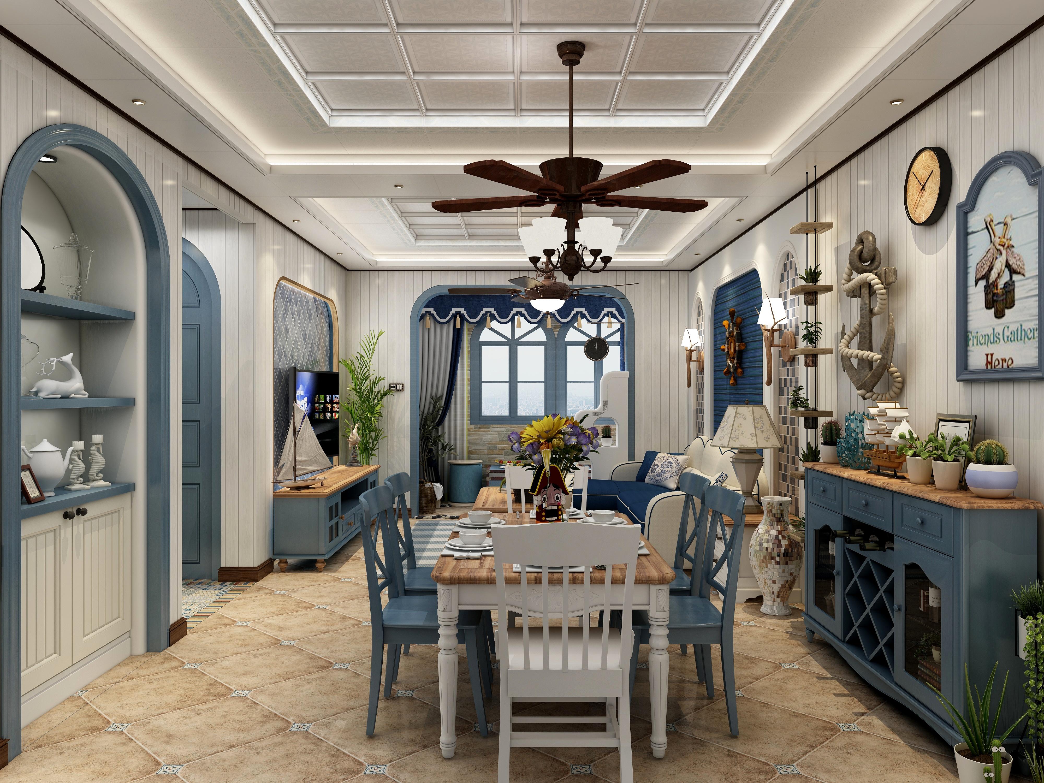地中海风格-(客餐厅、厨房、阳台)