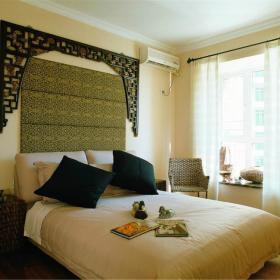 卧室窗帘背景墙门窗效果图