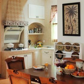 田园美式餐厅厨房餐桌设计案例