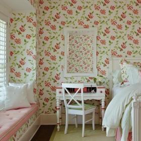 田园卧室飘窗&落地窗小碎花墙纸设计案例展示