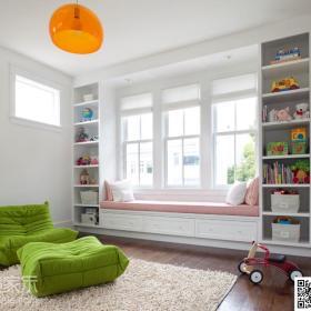 简欧儿童房飘窗&落地窗单人沙发设计方案