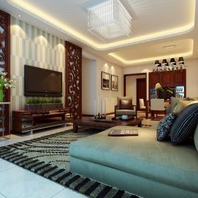 现代简约新中式客厅装修效果展示