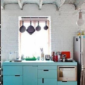 清新厨房搁架装修图
