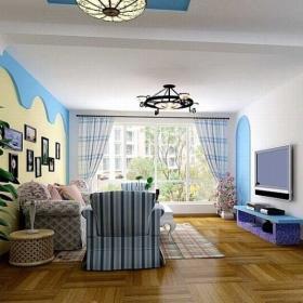 地中海客厅电视背景墙装修图