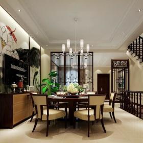 中式餐厅别墅背景墙楼梯装修案例