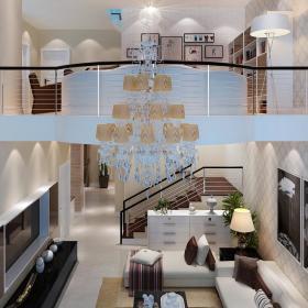 现代简约时尚客厅别墅背景墙楼梯沙发电视柜壁纸灯具墙面图片
