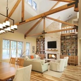 简欧时尚客厅餐厅阁楼别墅吊顶楼梯沙发门窗灯具墙面案例展示