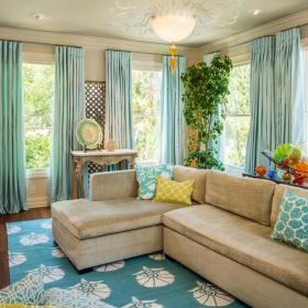 田园美式时尚客厅别墅窗帘沙发门窗灯具图片