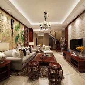 中式客厅跃层背景墙楼梯设计图