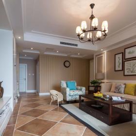 美式客厅背景墙沙发灯具图片